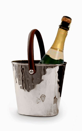 Leather handled silver plated wine cooler with award winning champagne