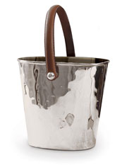 Leather handled silver plated wine cooler